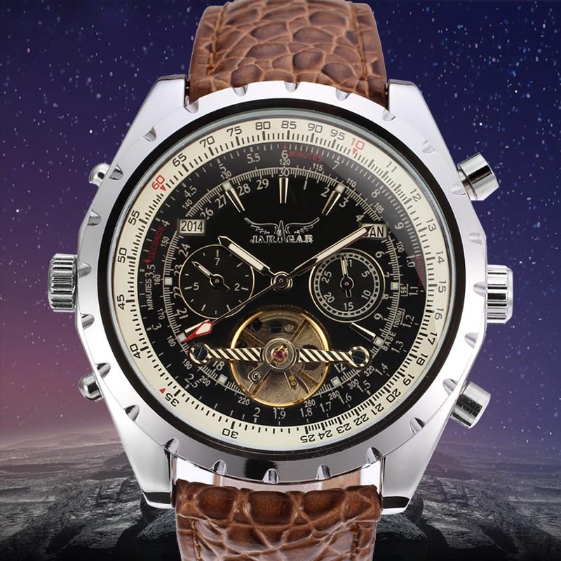 лучшая цена JARGAR Men's Watch Luxury Business Brand Automatic Tourbillion Wristwatch Color Brown
