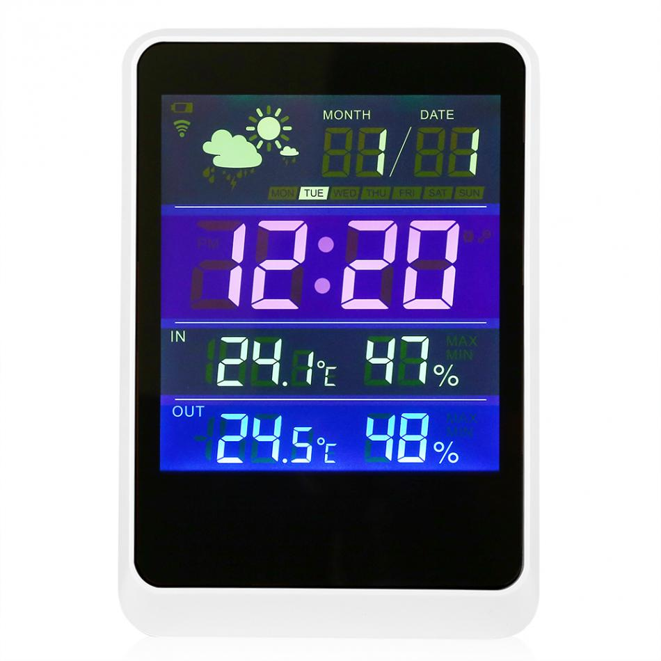 LED Screen Display Digital Weather Station Alarm Clock Date/ Time In/Outdoor 30m Wireless