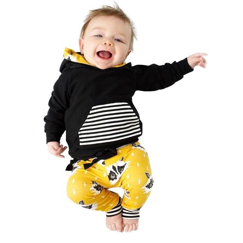 Newborn Baby Boy Girl Clothes Set 2 PCS Spring Autumn Baby Clothes Set Cotton Long Sleeve Stripe Print Hood Set Baby Sports Set