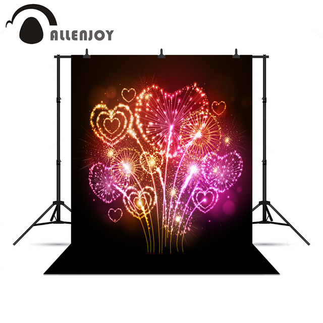 allenjoy photography backdrops light spot fond new year fireworks love hearts backgrounds for photo studio background