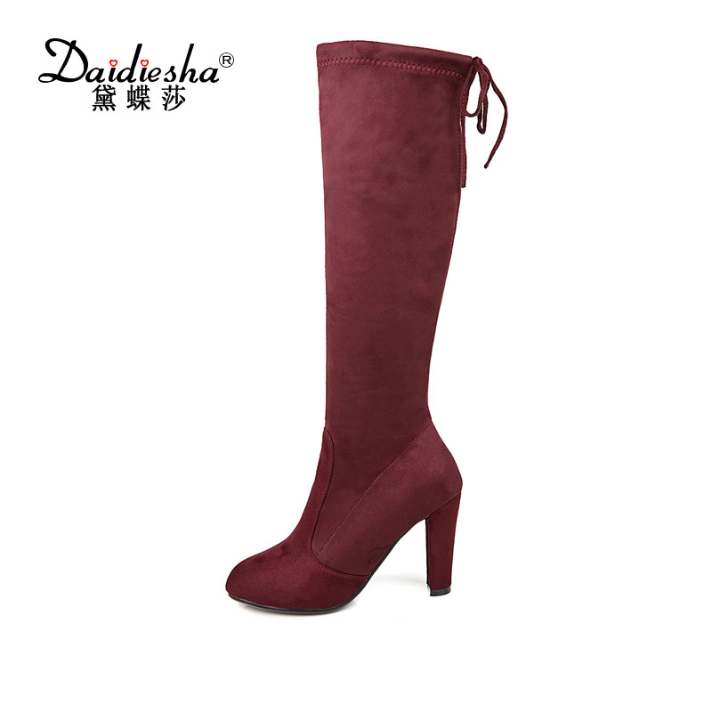 Daidiesha Faux Suede Slim Boots Sexy Knee high boot women snow boots womens fashion winter thigh high boots size 34-43