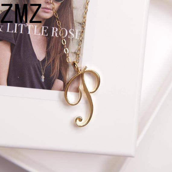 ZMZ 2019 Europe/US fashion English letter pendant lovely letter P text necklace gift for mom/girlfriend party jewelry image