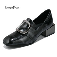 Women S Thick Heel Pumps Spring Autumn Lazy Shoes Square Toe Slip On Dress Shoes Woman