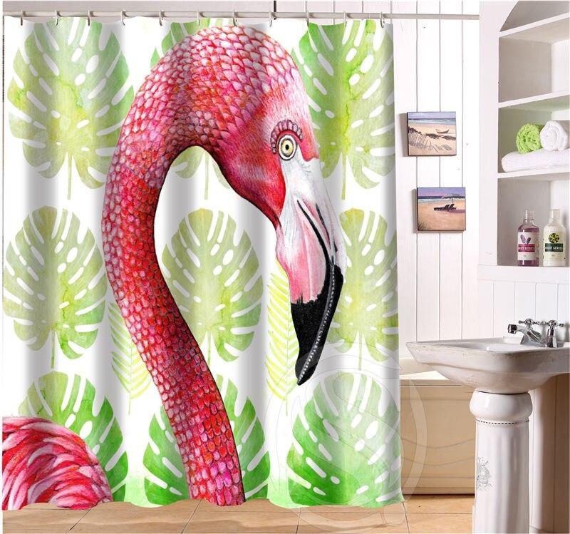 New Arrive Custom Beautiful Flamingo Bathroom Shower Curtain Polyester  Waterproof Free Shipping