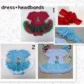 Vestido del mameluco recién nacido y headmand elsa princesa de la muchacha del niño ropa conjunto infantil niñas vestido de la navidad envío gratis