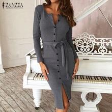 ZANZEA Women Dress 2016 Autumn Sexy Ladies V-Neck Long Sleeve Belt Knee-length Casual Bodycon Pencil Dresses Solid Slim Vestidos
