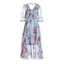 High quality women's Chiffon dress NEW 2019 SUMMER runways floral print V neck dress A157