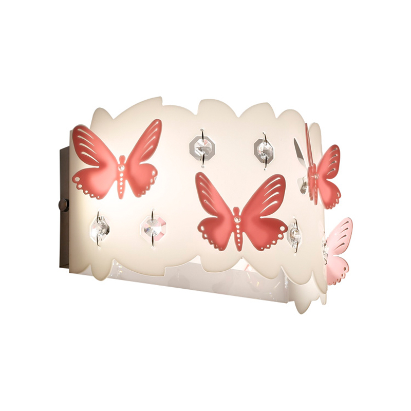 Modern Simple Pink Butterfly LED Wall Recessed Lights Fixture Girl's Bedroom Decor Lamp Acrylic Warm White Wall Sconces WL240 sinfull modern brief led 9w wall lights acrylic bedside white wall sconces stair bedroom asile balcony 90 260v lighting lamp