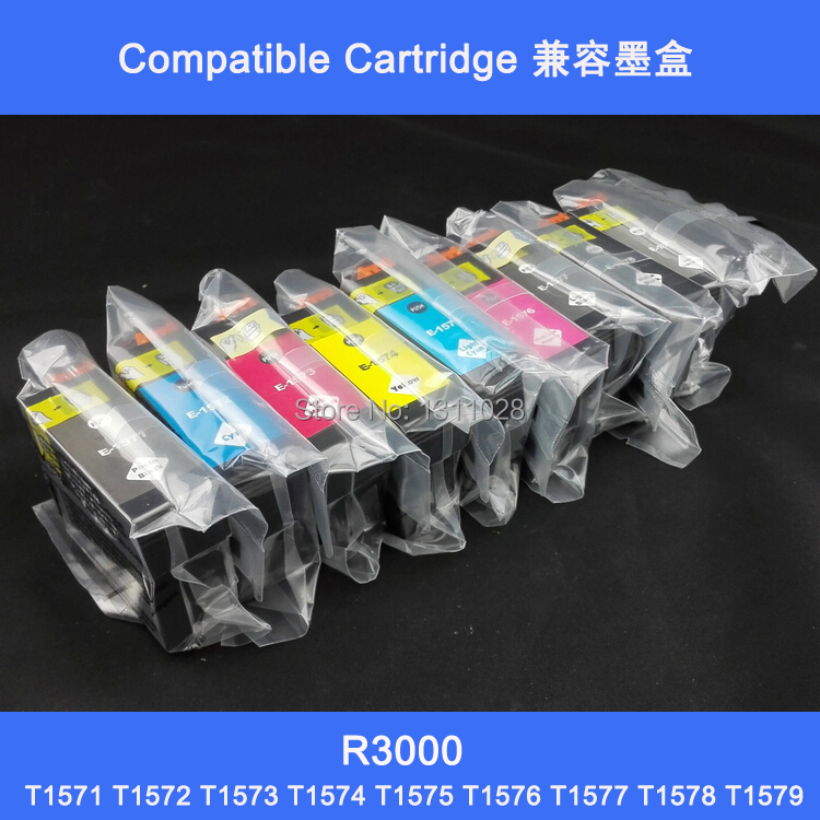 27PACK  Compatible Ink Cartridge T1571-T1579 T1571-9 Epson Stylus Photo R3000 Printer,full PIGMENT INK 11colors 200ml empty ink cartridge with ink bag for epson stylus photo 4900 printer with arc chip