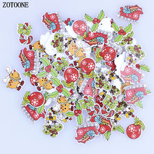 ZOTOONE Random Mixed 50Pcs Christmas Crystal Ball Pattern Wooden Decorative Buttons for Scrapbooking Sewing Decoration Crafts E