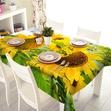 Senisaihon 3D Tablecloth Yellow Sunflower Pattern Waterproof/oil-proof Thicken Polyester Rectangular Wedding Table cloth Textile