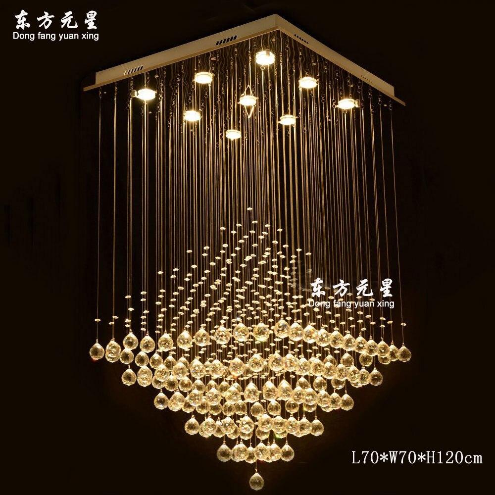 Современная хрустальная люстра led lightindoor свет большой уровень хрустальная лампа квадратное кольцо форма освещения