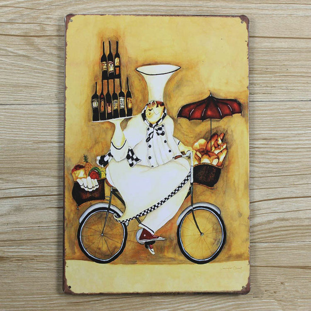 Kitchen chef with wine Retro Painting wall art Metal Painting Bars ...