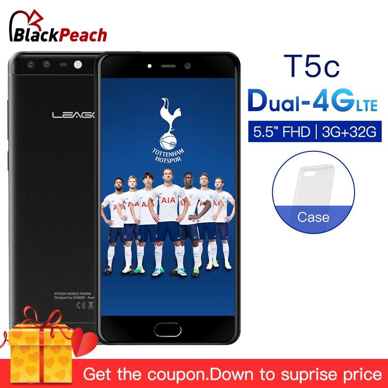LEAGOO T5c 4G LTE Smartphone 5.5FHD Android 7.0 SC9853 Octa Core 3GB RAM 32GB ROM 13MP Dual Back Cams Fingerprint Mobile Phone