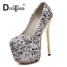 DoraTasiaขนาด34-40เซ็กซี่ผู้หญิงShimmeryปั๊มมากส้นสูงรองเท้าแต่งงานของบุคคลหญิงชุดราตรีแพลตฟอร์มปั๊ม