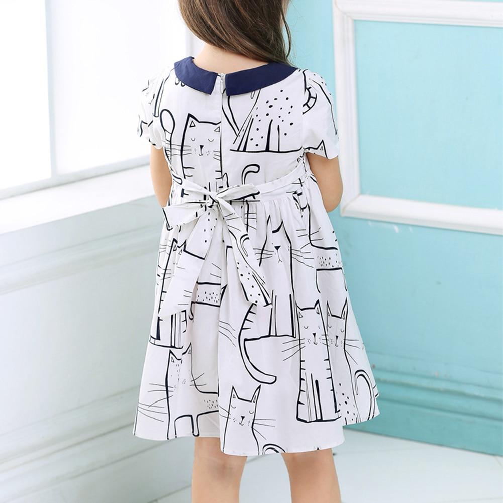 Baby Kids Girl Peter Pan Collar Short Sleeve Cat Design Dress