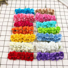 12 PCS (2 cm/flower) artificial mini wedding bouquets of roses paper flowers home decoration fake flower wreath DIY gift box