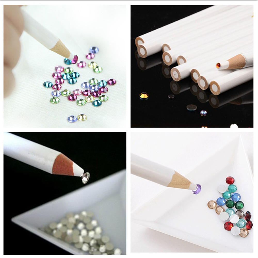5pcs Set Nail Art Rhinestones Gems Picking Crystal Tool Wax Pencil Pen Picker Pickup