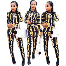 Crop Top And Skirt Set And Skirt Set Rushed Polyester Full None O-neck Elastic Waist Printed Hot Style Chain Tight Two-piece