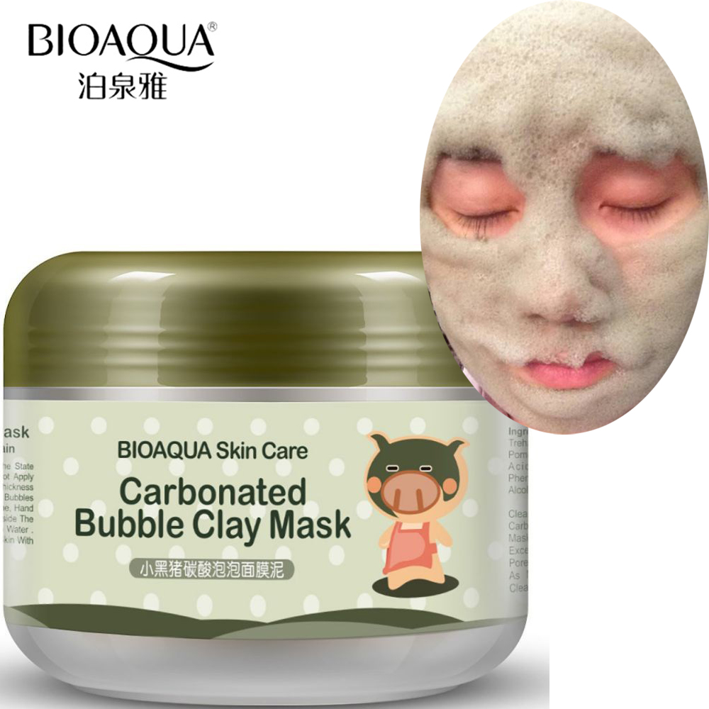 BIOAQUA Black Pig Carbonated Bubble Face Mask Clay Facial Mask Deep Pore Clean Whitening Skin Moisturizer Anti Aging Skin Care