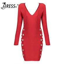 INDRESSME Sexy Mini Hollow Out Deep V Full Sleeve Bodycon Autumn Women Lady Bandage Dress Femme Vestidos 2017 New Arrival