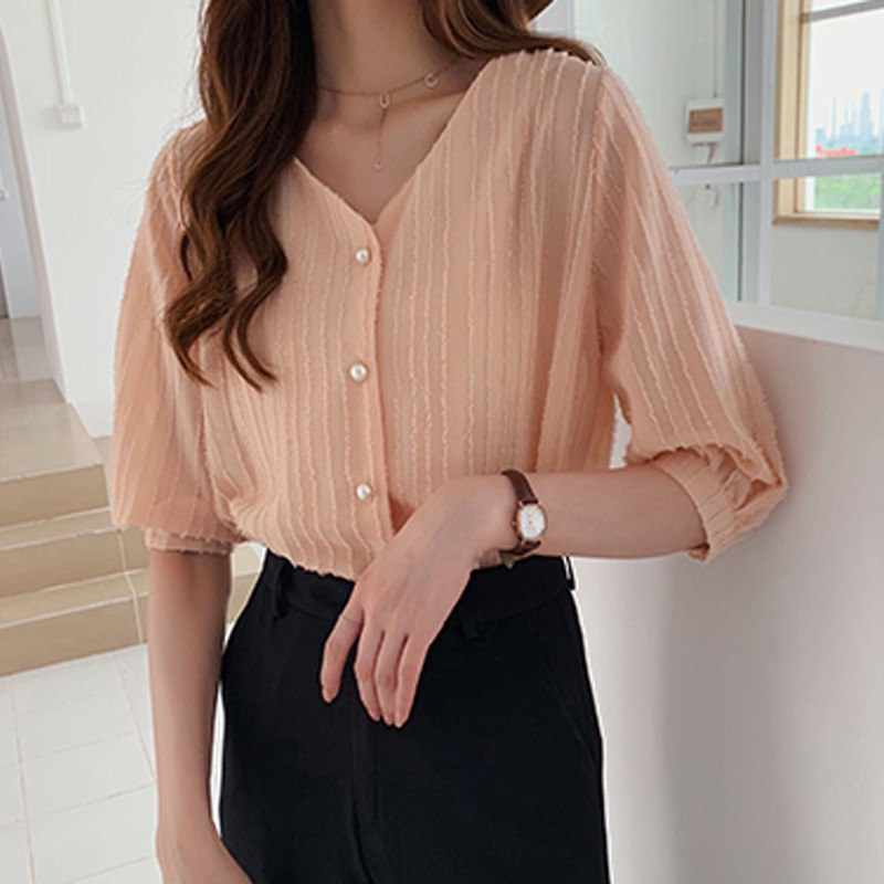 ETOSELL Female Casual V Collar Summer Blouse 2019 Fashion Summer Women's Chiffon Blouses