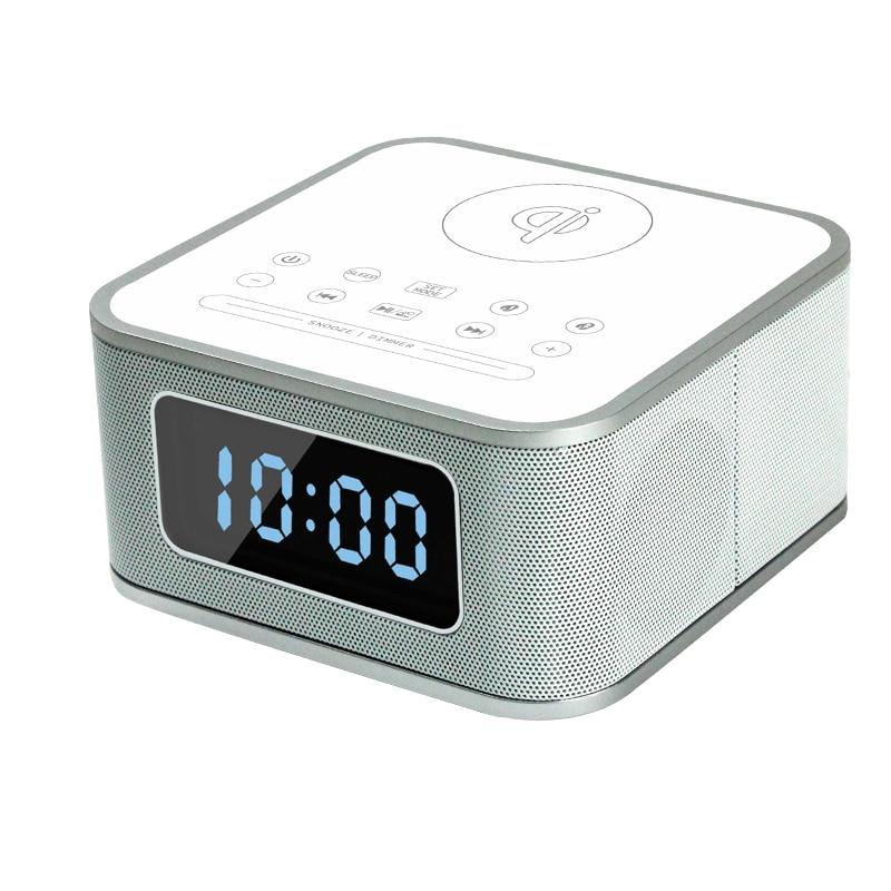 Wireless Remote Control Bluetooth Music Stereo Speaker with Alarm Clock FM Radio Wireless Charging smartphone  MP3/4 player ikanoo f99 portable bluetooth v3 0 stereo mp3 speaker for smartphone tablets black silver