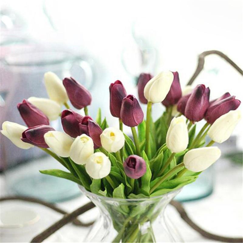 3pcs Artificial Tulips fake Flowers PU flores artificiales para decora o mini Tulip for Home Wedding decoration cheap Flower