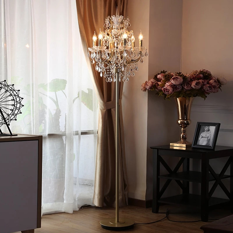 Led Stand Light Floor Lamps For Living Room Crystal Floor