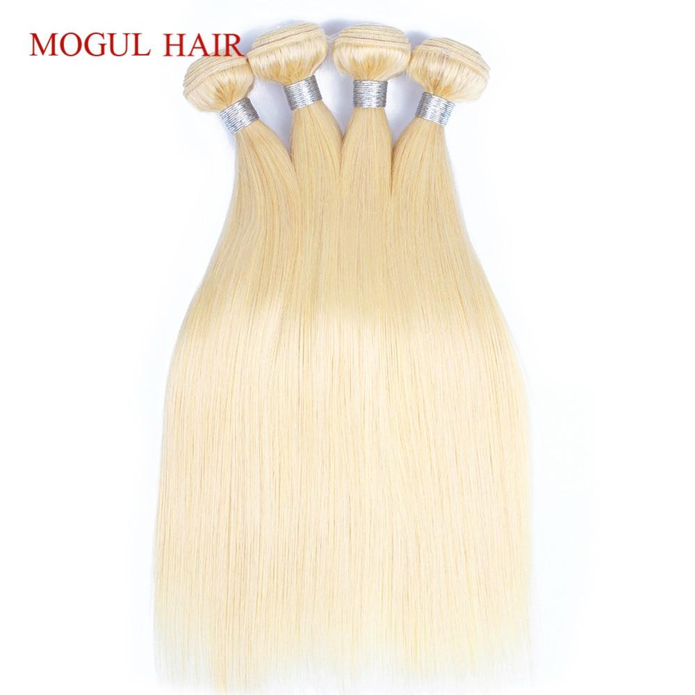 MOGUL HAIR Color 613 Platinum Blonde Hair Weave Bundles Brazilian Straight Hair 4 Bundle Remy Human