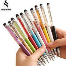 20 Colors Crystal Ballpoint Pen Fashion Creative Stylus Touch Pen for Writing Stationery Office & School Pen Ballpen Black Blue