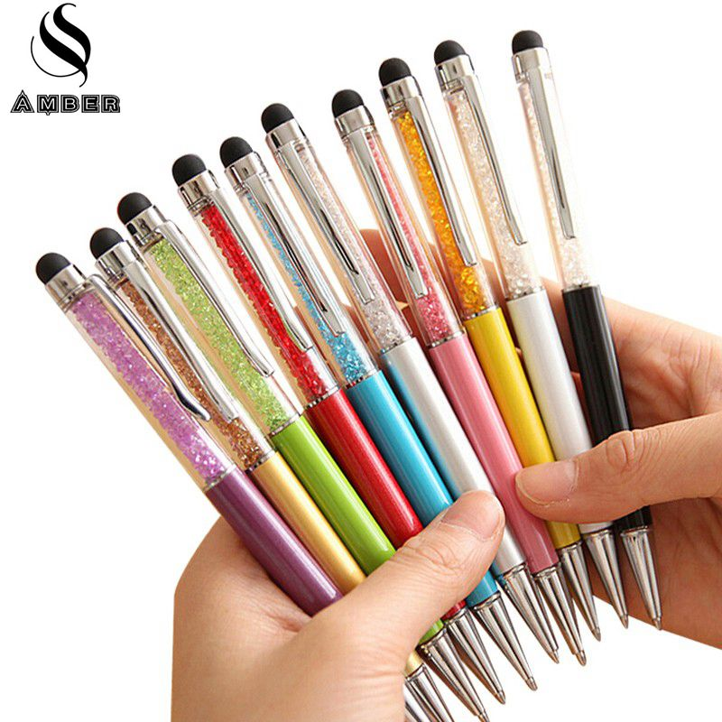 20 colors crystal ballpoint pen fashion creative stylus touch pen for writing stationery office school pen