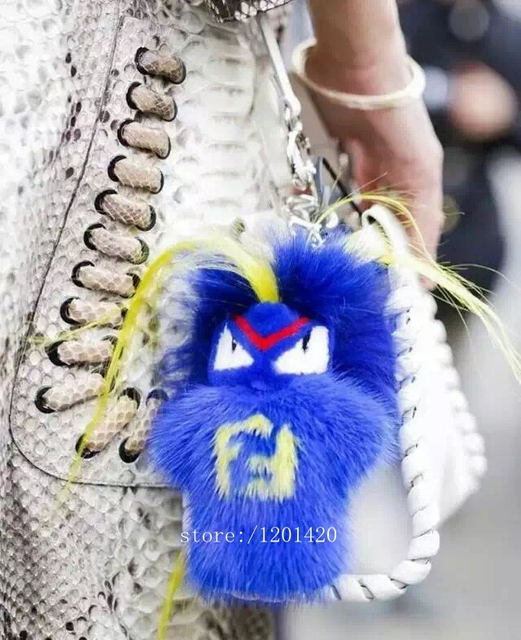 Real fur karl monster  Bag bug charm tag pompom  car key chain Luxury handmade Real Fur Doll backpack tote handbag charm