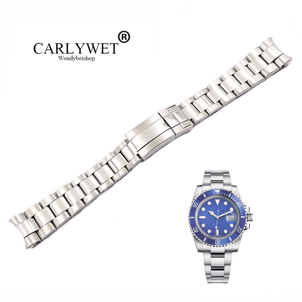 CARLYWET 20 21mm Silver Middle Polished 316L Solid Stainless Steel Watch Band Belt Strap Bracelets For Submariner GMT-in Watchbands from Watches