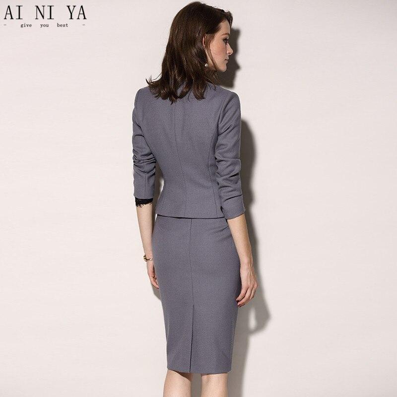 À D'affaires Longues Picture Gris 2 Jupe Slim Costumes Manches Pièce De Femmes Professionnelle Same Travail Tenue Mode As 4A5j3RL