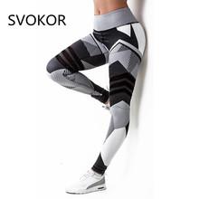 SVOKOR Women Leggings Sexy Black Holes High Waist Ankle Length Polyester White Striped Print Keep Slim
