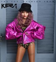 Hot Fashion Women and Men Symphony rose red loose motorcycle leather jacket hip hop sexy ladies nightclubs singers party dress