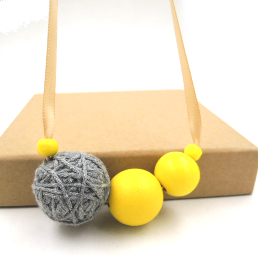 asymmetric yellow grey necklace wooden beads ball beaded statement pendant color block minimalist 2017 everyday NW713