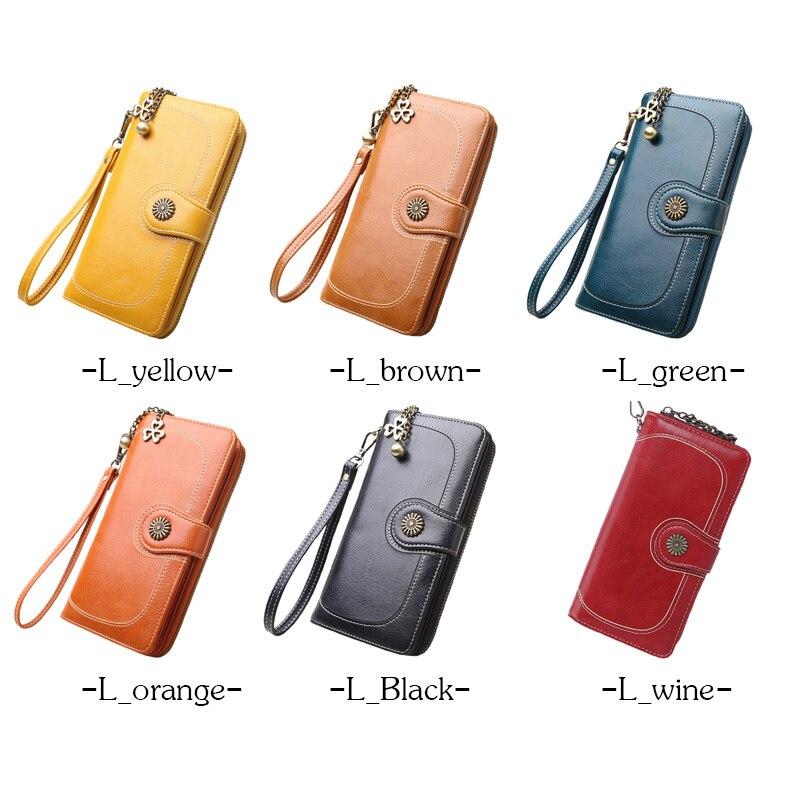 2018 New Vintage Button Phone Purses Women Wallets Female Purse Leather Brand Retro Ladies Long Zipper Woman Wallet Card Clutch 2