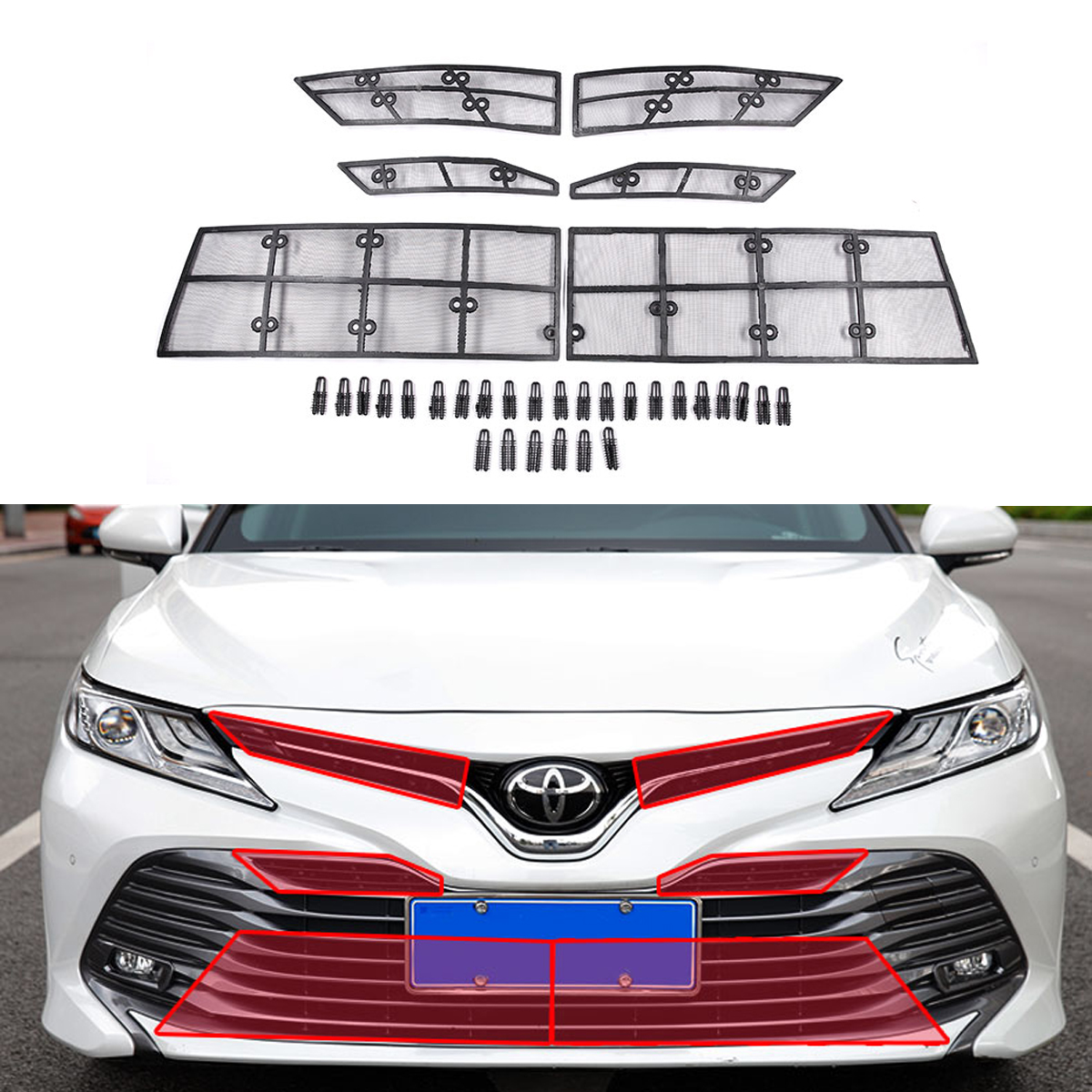 Front Grille Insect Net for Toyota Camry 2018 8th XV70 Steel Wire + Plastic Material Science AccessoriesFront Grille Insect Net for Toyota Camry 2018 8th XV70 Steel Wire + Plastic Material Science Accessories