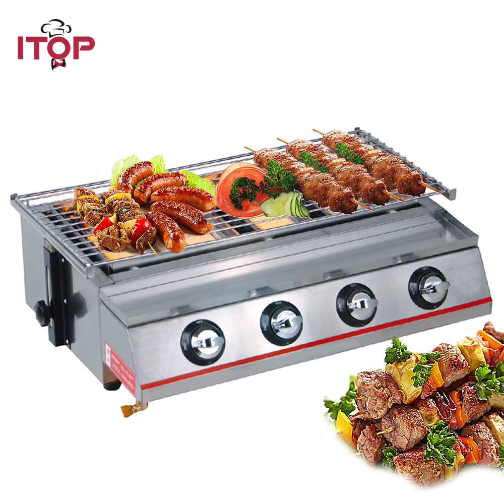 ITOP 4 Burners Gas BBQ Grills Adjustable Height Hot Cooking Plates BBQ Griddles Outdoor Barbecue Tools Stainless Steel/Glass