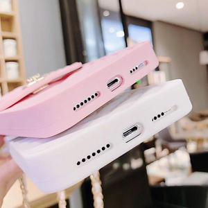 Image 3 - Card Slot Long Shoulder Strap Chain Case Cover for Iphone 11 XR XS MAX 6 7 8 Plus XS X Case Fashion Crossbody Wallet Case Coque