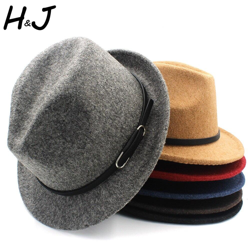 1c3678a2ed7 Classico100% Wool Women Men Fedora Hat For Winter Autumn Elegant Lady  Gangster Trilby Felt Homburg Church Jazz Hat Size 56 58CM-in Fedoras from  Men's ...