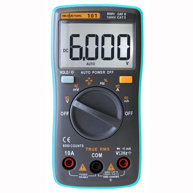 Voltmeter Ohm Portable Meter voltage meter RICHMETERSRM101 Digital Multimeter 6000 counts Backlight AC/DC Ammeter