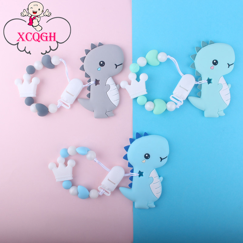XCQGH Silicone Round Beads Crown Stegosaurus Teether DIY Handmade Silicone Pacifier Chain Baby Teether