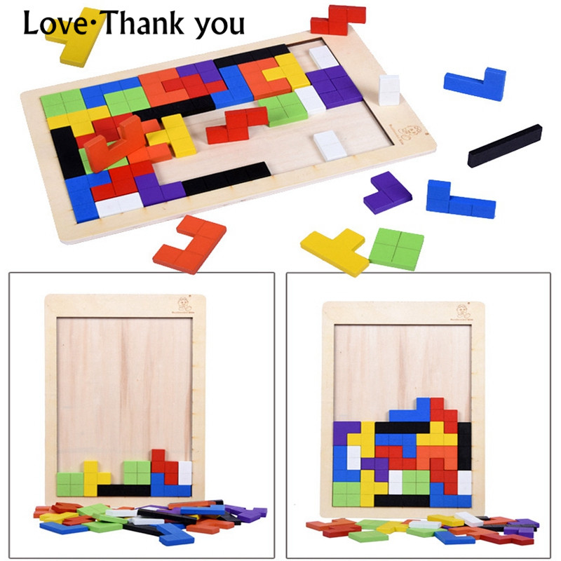 Éducation précoce Tetris Tangram Casse-tête Puzzle Jouets Tetris Jeu Préscolaire Magination Intellectuelle Kid Éducation Jouet Cadeau