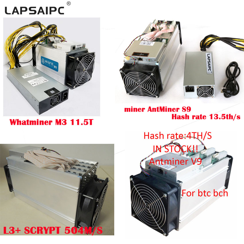En stock! AntMiner S9 S7 S5 L3 E9 T9 V9 4 T/S bitcoin Asic Machine de forage minier nouvelle mineur pièces d'ordinateur 13 T 13.5 T 14 T