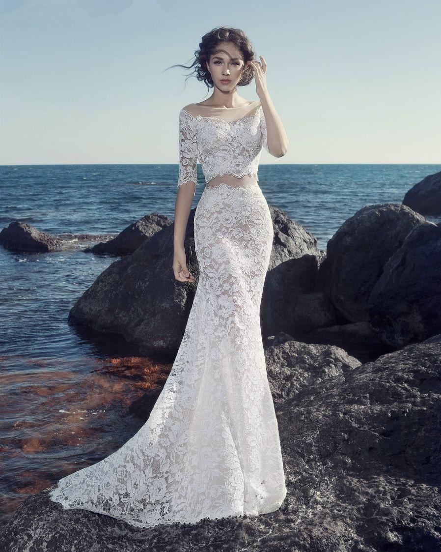 Vestidos De Novia China Bridal Gowns Vintage Lace Boho 2 Piece ...