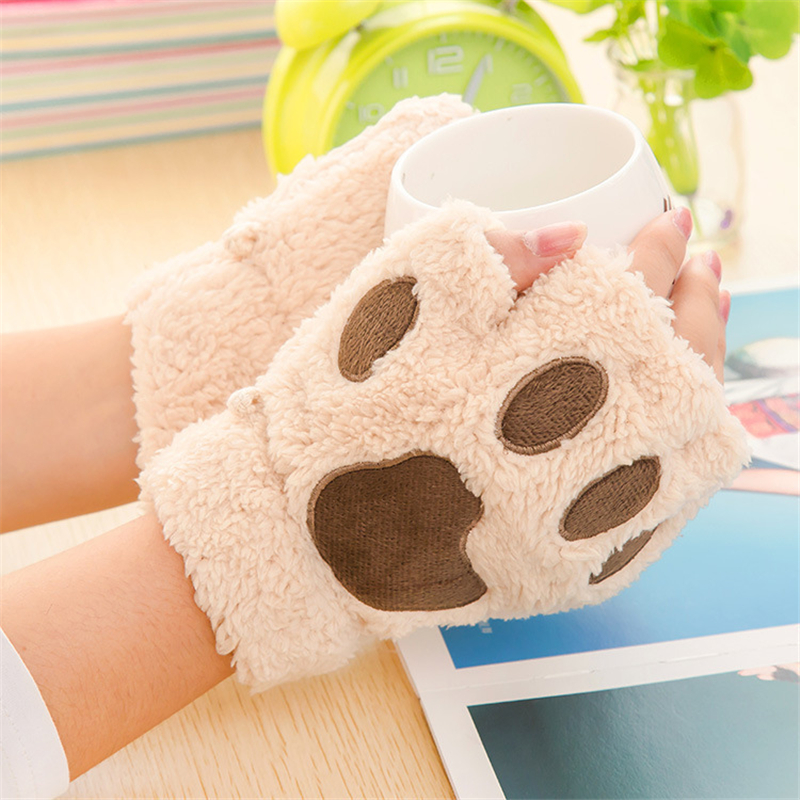 woman gloves winter warm fluffy bear cat plush paw claw. Black Bedroom Furniture Sets. Home Design Ideas