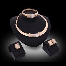Conjuntos de jóias Para As Mulheres Anéis de Casamento Colar Pulseira Imitação Brincos de Cristal Acessórios S1D80